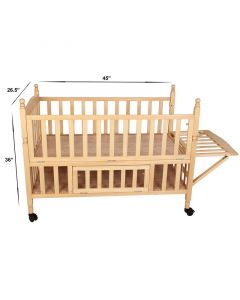 Pinkbunny Natural Polish Wooden Cot With Mosquito Net 004