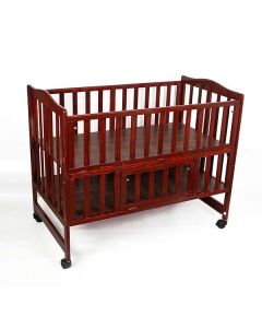 Pinkbunny Rose Wood Polish Wooden Cot With Mosquito Net 001