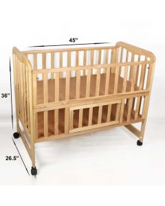 Pinkbunny Natural Polish Wooden Cot With Mosquito Net 002