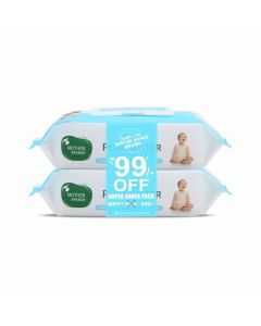 Mother Sparsh Unscented 99% Pure Water Wipes with Lid Combo (72pcsX2)