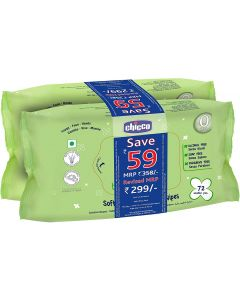 Chicco Bipack Wipes Pack of 2 144pcs