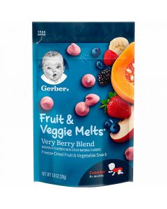 Gerber Fruit and Veggie Melts Freeze Dried Fruit and Vegetable Snack Very Berry Blend 1oz (28g)