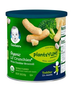 Gerber Lil' Crunchies Organic PlantsYum! Baked Snack Made with Beans White Cheddar & Broccoli 1.59oz (45g)