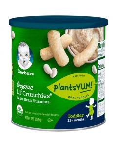 Gerber Lil' Crunchies Organic PlantsYum! Baked Snack Made with Beans White Bean Hummus 1.59oz (45g)