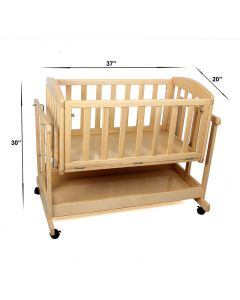 Pinkbunny Baby Wooden Cradle Natural Wooden Polish WIth Mosquito Net 004