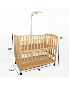 Pinkbunny Natural Polish Wooden Cot With Mosquito Net 003