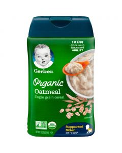 Gerber Organic Single Grain Oatmeal Baby Cereal Supported Sitter (8oz) 227g