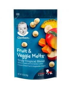 Gerber Fruit and Veggie Melts Freeze Dried Fruit and Vegetable Snack Truly Tropical Blend 1oz (28g)